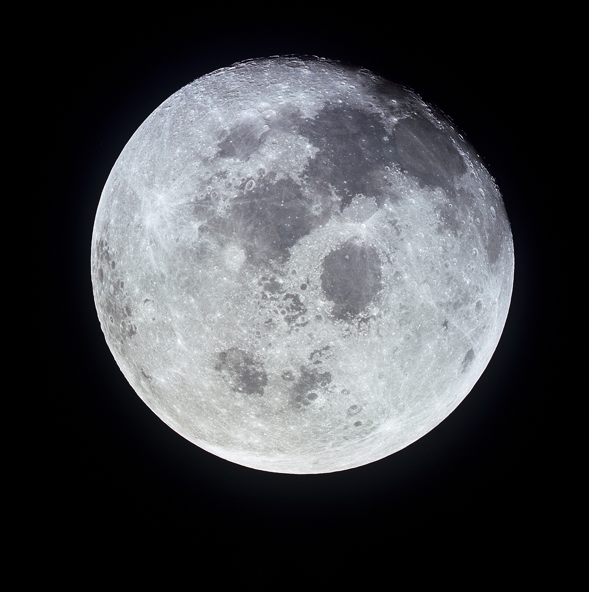 Full moon photographed from the Apollo 11 spacecraft. Image credit NASA