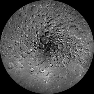 The Moon's North Pole. Image credit NASA-GSFC-Arizona State University