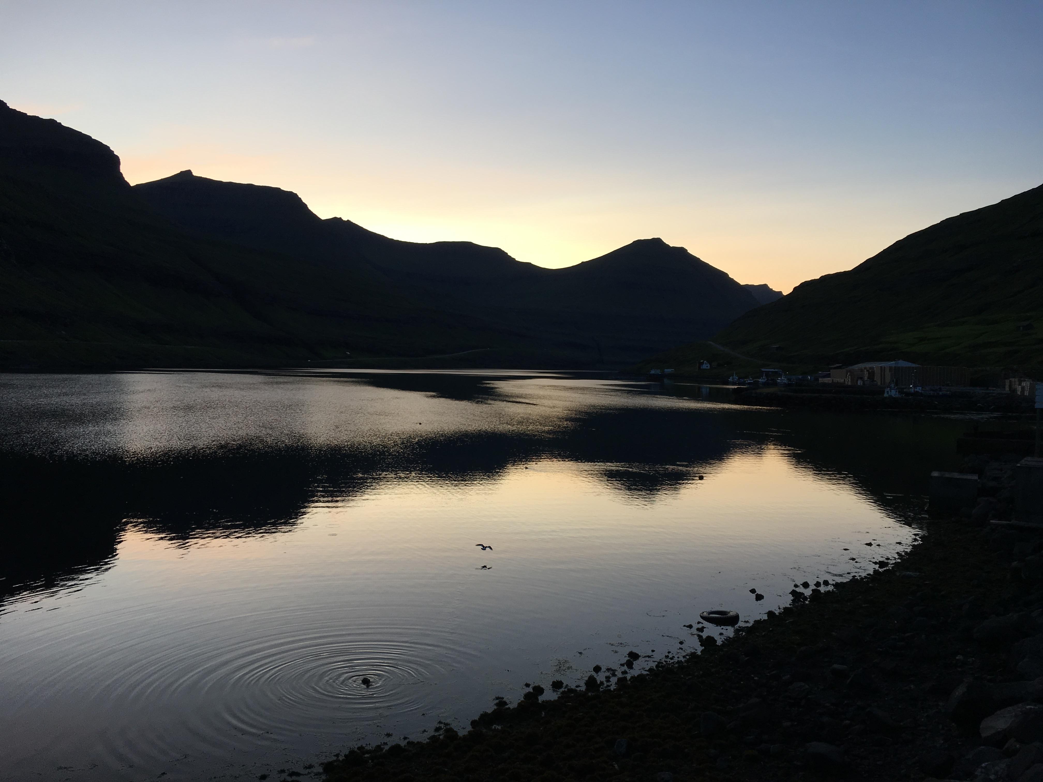Funningsfjørður, Faroe Islands, in August at 10pm