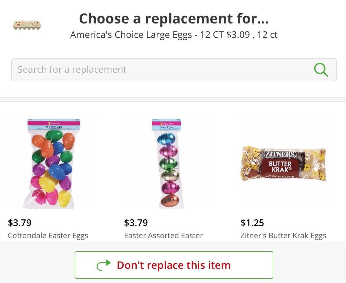 egg replacement fail