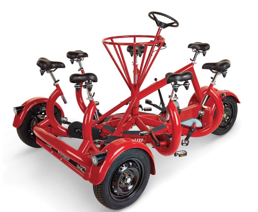 The seven-person tricycle from the Hammacher Schlemmer catalog.